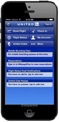 United Airlines Mobile Site